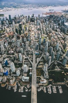 Aerial view of downtown Vancouver, Canada. Aerial view of downtown Vancouver, Canada. Places To Travel, Places To See, Travel Destinations, Places Around The World, Around The Worlds, Canada Travel, Aerial View, Beautiful Places, Scenery