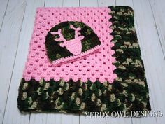 Pink Camo Crocheted Blanket and Hat Gift Set by NerdyOwlDesigns