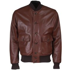 Men's leather bomber jacket. Brown leather jacket. A-1 Jacket, Flight Jacket, Leather Jacket