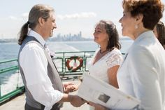 Seattle ferry wedding for Laura and A.G., Summer 2015.  From Seattle to Bainbridge Island.  Officiant:  Annemarie Juhlian