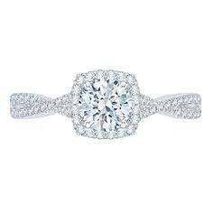 Twisted Diamond Shank with Halo Promezza Engagement Ring