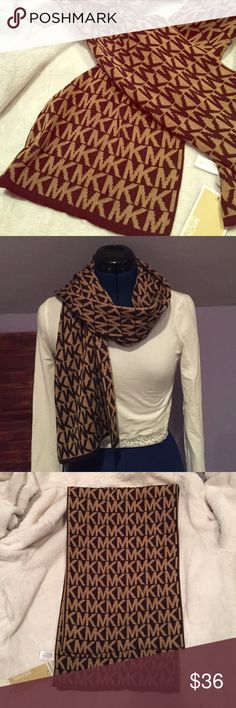 """Michael Kors MK printed Scarf Very beautiful brown scarf. Authentic Michael Kors item. Measures about 60"""" in length. Never been worn! New with tag! Michael Kors Accessories Scarves & Wraps"""