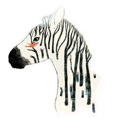 удивительно, животное, животные, искусство, птица, птицы, чёрный, концептуально, креатив, рисунок, я люблю, иллюстрация, природа, профиль, полосы, дерево, деревья, акварель, белый, зебра