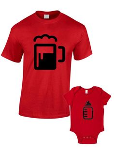 Beer And Bottle T-Shirts or Baby Grow - Matching Father Child Gift Set (2 shirts) - Father's Day Present Son Mum Daughter Dad Pint Half Pint