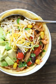 Slow Cooker Chicken Enchilada Bowls | Healthy Ideas for Kids