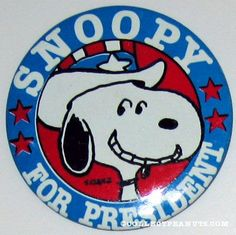 Peanuts Snoopy for President Pinback Buttons | CollectPeanuts.com - Snoopy for President