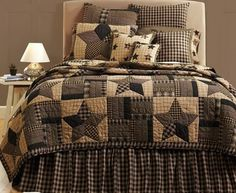 Our Bingham Star quilted bedding is one of our most popular designs and will be sure to transform your room into a cozy country retreat. https://www.primitivestarquiltshop.com/collections/bingham-star-bedding #primitivecountrybedroomsbeddingandaccessories