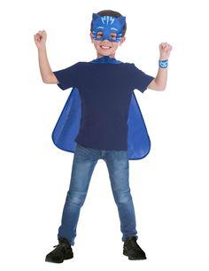 Catboy Cape Set - Boy's PJ Masks fancy Dress Costume - Kids years, includes: Cape, Mask and Wrist Cuff Fantasia Pj Masks, Pj Masks Costume, Fancy Dress Costumes Kids, Festa Pj Masks, Halloween, Dresses, Products, Blue Jumpsuits, Costume Ideas