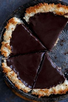 Gluten free chocolate coconut pie. NO BAKE (except the crust for a quick minute!)