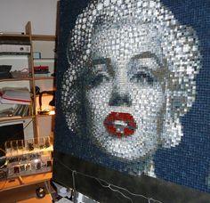 Мерлин Монро . Портрет в технике Pixel-Glass мозаика