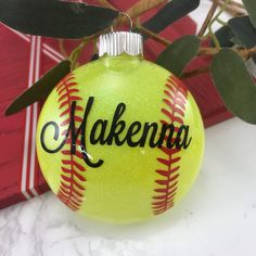 These bright yellow glitter ornaments are great gifts for your softball team any time of year as a keepsake for years to come. Handmade and personalized y GemLights on Etsy. Glitter Ornaments, Diy Christmas Ornaments, Christmas Decorations, Ornaments Ideas, Christmas Ideas, Mexican Christmas, Clear Ornaments, Beaded Ornaments, Handmade Ornaments