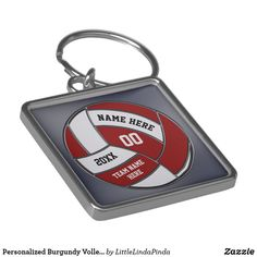 Personalized Burgundy Volleyball Gift Ideas Maroon Volleyball Keychains CLICK: https://www.zazzle.com/z/osg5d?rf=238147997806552929 Four Text Boxes to type in YOUR TEXT. Senior night volleyball gifts for girls or volleyball team gifts. CALL Zazzle designer Linda: 239-949-9090 to make color or product changes. More personalised volleyball gifts HERE: http://www.zazzle.com/littlelindapinda/gifts?cg=196072827240218549&rf=238147997806552929 #personalizedvolleyballgifts…