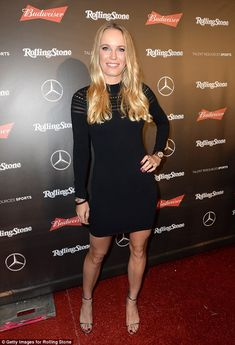 Dazzling: Caroline Wozniacki dazzled the fashion police in figure-flaunting knit mini dress at Rolling Stone Live: Houston presented by Budweiser and Mercedes-Benz on Saturday in Texas