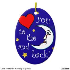 Love You to the Moon Double-Sided Oval Ceramic Christmas Ornament