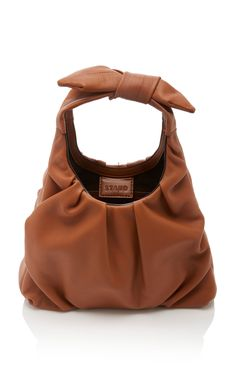 Mini Island Leather Tote by Staud Postman Bag, Leather Bag Design, Tan Shoulder Bag, Tan Bag, Diy Purse, Popular Bags, Beautiful Bags, Calf Leather, Fashion Bags