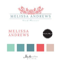 Need a feminine logo and branding for your florists shop or wedding planning business?That's what I design this premade branding kit for. Click through to purchase your premade logo and branding kit now! Premade Feminine Logo and Brand Kit Template, Branding Kit, Logo Design by BlondeCoffeePrints on Etsy