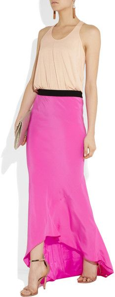 Mason By Michelle Mason Jersey and Silk Maxi Dress in Pink (blush) - Lyst