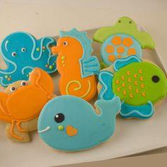 Sea Animal Sugar Cookies, Whale, Crab, Fish, Octopus (12 favors, individually bagged and bowed)