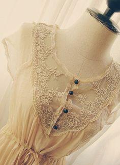 Chantilly Marie Antoinette Chiffon Lace Beige dress... by RiverOfRomansk