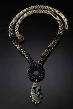 Black Ring Neckpiece by Sher Berman: Beaded Necklace available at www.artfulhome.com