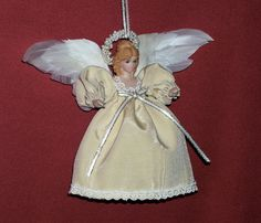 Porcelain Angel Ornament Christmas Gift Birthday by DollmakerNic Itty Bitty Angel Ornament....New 2015