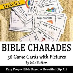 Bible Charades for Kids 36 Easy Prep, Fun Games for Church, Sunday School, Awanas, Bible Study, Vacation Bible SchoolHave a few extra minutes in class? Hosting a summer camp or lock-in? The possibilities are endless with these Cut and Go Bible Charades especially for younger children.