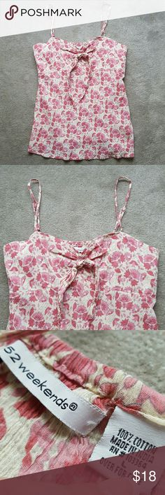 NEW! Floral Strap Tank BRAND NEW! PERFECT CONDITION! NEVER BEEN WORN! (****I'm an impulse shopper - I took the tags off when purchased and ended up never wearing it****) Floral strap tank from 52 Weekends - Front tie (just for show) - Adjustable straps. Size medium/large. No trades. 52 Weekends Tops Tank Tops