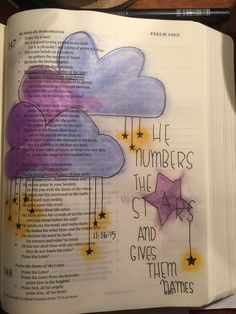 Psa 147:4.  God has named all the stars!  Still working with gelatos.  #biblejournaling #illustratedfaith