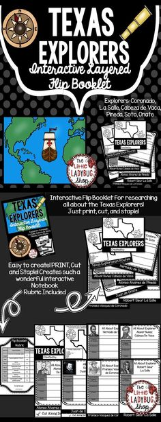 Texas Explorers Interactive Flip Booklet is perfect for studying about the European Settlers Exploration of Texas.