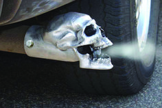 Skull Exhaust Tip (Unpolished) - Sold Individually. Our unpolished skull is bad ass! Great as a truck accessory! Event better on a Harley or Hot Rod! Part Number: MD Skull Tip Unpolished. UnPolished Skull Exhaust Tip. Rat Rods, Auto Jeep, Deco Originale, Hood Ornaments, Ford Gt, Skull And Bones, Skull Art, Car Parts, Custom Cars