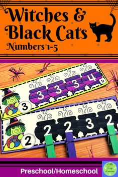 These Witches & Black Cats Number Lessons are the perfect addition for Math Centers for homeschool/preschool. This time saving, leveled resource is engaging with its vibrant pictures and stimulating content! Your multi-aged 2-3 year old children will enjoy learning about Halloween and numbers with these interactive lessons Morning Activities, Hands On Activities, Math Activities, Halloween Math, Halloween Activities, Halloween Witches, Numbers Preschool, Preschool Math, Maths