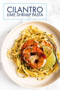 Linguini tossed in a white wine, garlic and butter sauce with lime juice and cilantro then topped with seasoned shrimp.  This light and refreshing cilantro lime shrimp pasta is a quick and easy meal you'll want to eat again and again! Yummy Pasta Recipes, Risotto Recipes, Veggie Recipes, Fish Recipes, Seafood Recipes, Whole Food Recipes, Dinner Recipes, Veggie Food, Salmon Pesto Pasta