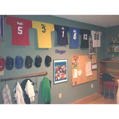 Creative way to display sports jerseys, possibly in a boys hangout room Boy Sports Bedroom, Kids Bedroom, Boys Room Sports, Bedroom Ideas, Soccer Room, Basketball, Hangout Room, Trophy Rooms, Sports Jerseys