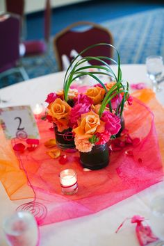 Small Centerpieces Orange And Pink Roses Carnations Love The Colors Not Indian