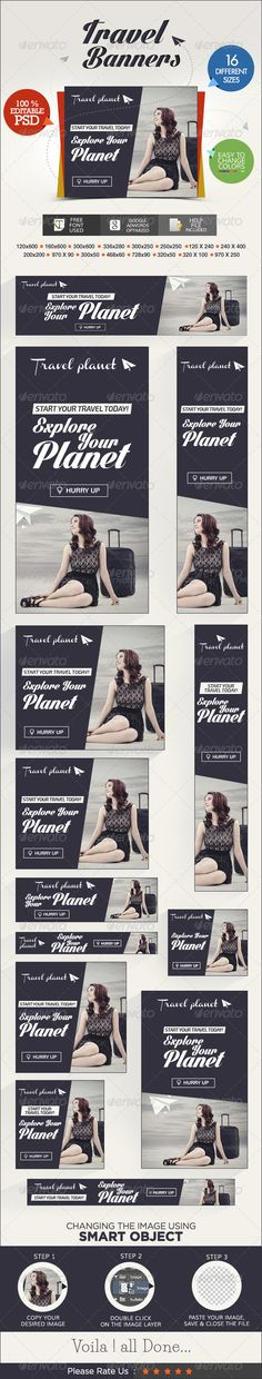 Travel Web Banner Set Template PSD | Buy and Download: http://graphicriver.net/item/travel-banner-set/7206237?WT.ac=category_thumb&WT.z_author=BannerDesignCo&ref=ksioks