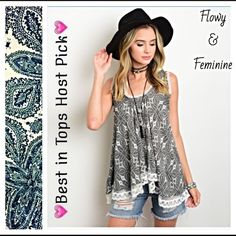 """Feminine & Flowy Lace Hem Tank Top Small Med 💗Best in Tops Host Pick💗Gorgeous flowy and feminine paisley tank with lace hem. Black & white light & airy rayon with a loose fit. Sexy tie in back❤️❤️❤️❤️❤️❤️ Length 28"""" S/M  B36 W42 M/L  B38 W44 Marled Vintage Havana Tops Tank Tops"""