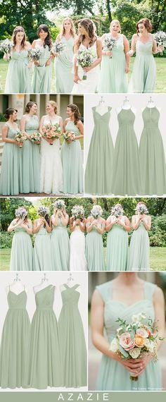 Azazie Dusty Sage Bridesmaid Dresses - Real Wedding Inspirations Sage green wedding color ideas for 2019 trends: When it comes to wedding color schemes, green is undoubtedly one of our favorites. It gives you the opportunity to Sage Bridesmaid Dresses, Wedding Bridesmaids, Wedding Dresses, Mint Green Bridesmaid Dresses, Sage Dresses, Dresses Dresses, Wedding Mint Green, Sage Wedding, Mint Wedding Flowers