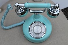 Vintage French Rotary Phone, Tiffany Blue, Retro Teal and Chrome, Celebrity Telephone, Western Electric