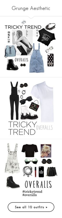 """""""Grunge Aesthetic"""" by ginavrob16 ❤ liked on Polyvore featuring Yves Saint Laurent, H&M, INC International Concepts, MICHAEL Michael Kors, TrickyTrend, overalls, Maje, RE/DONE, Dr. Martens and Dolce&Gabbana"""