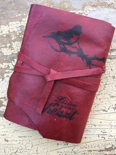Listen To Your Heart: Leather journal, handmade