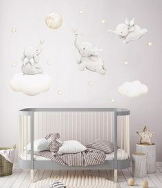 Fabric Wall Decal FLYING ELEPHANTS Nursery wall decal Watercolor decals Elephant wall decal nursery sticker baby decal A