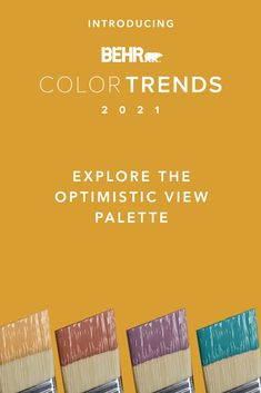 Make your room positively calming with these rich tones from our Optimistic View palette. A pop of bright colors like Caribe PPU13-01, Euphoric Magenta M110-7, Kalahari Sunset MQ1-25 and Saffron Strands PPU6-02, can lift the mood in any space, making it great for kitchens, playrooms and anywhere you want to feel energized. Click below to see more.