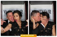 Celebs Get Silly in Vanity Fair Oscars Photo Booth | Channing Tatum and Jenna Dewan posed in Vanity Fairs Oscars party photo booth.