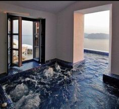 Inside---> outside hot tub