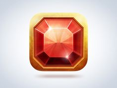 Ruby iOS icon designed by Konstantin Kolesov. the global community for designers and creative professionals. Game Ui Design, App Icon Design, Web Design, Flat Design, Game Gui, Game Icon, Game Concept, Concept Art, 2d Game Art