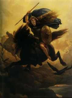 Valkyrie on horseback with spear and helmet. (Painting: Peter Nicolai Arbo)