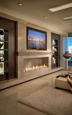 modern fireplace ideas Master bedroom ideas with tv on wall 2 Hauptschlafzimmer Ideen mit Fernseher an Wand 2 Living Room Decor Fireplace, Home Fireplace, New Living Room, Fireplace Modern, Fireplace Ideas, Living Room Ideas With Tv, Luxury Living Rooms, Family Room Design With Tv, Contemporary Fireplace Designs