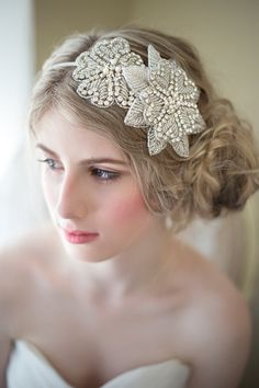 Rhinestone Wedding Headband Bridal Head Piece by PowderBlueBijoux