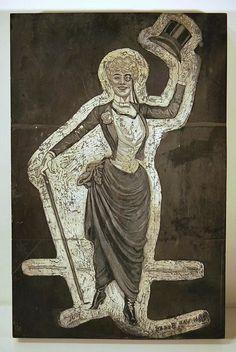 Maison de ventes aux enchères en ligne Catawiki: Jan van Beers (1852-1927) & Florian graveur - Plaque en bois debout originale gravée - Femme Dandy Parisienne
