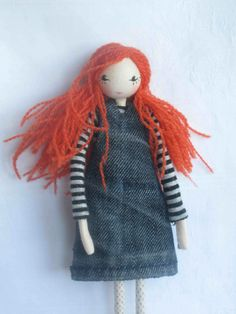 Pippi, a handmade, one-of-a-kind, red-haired, posable art doll